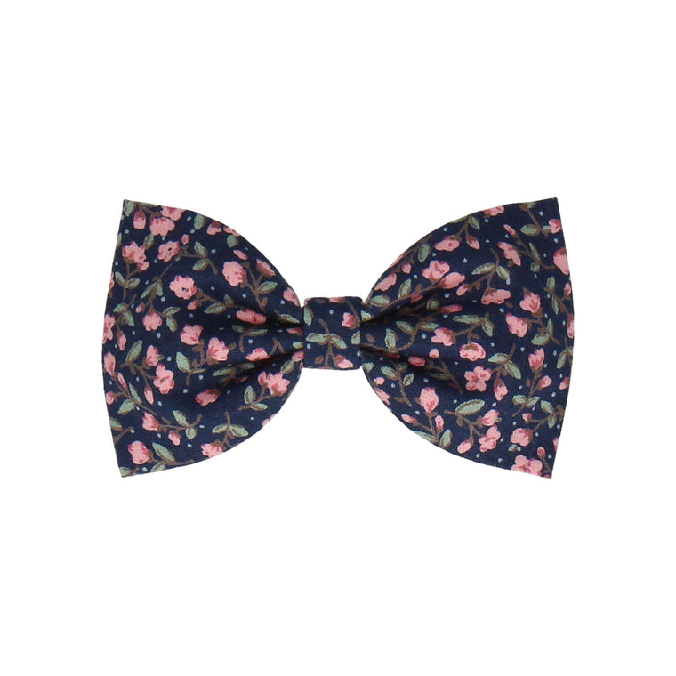 Navy Blue & Pink Ditsy Floral (Child's Bow Tie)