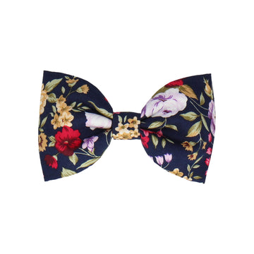 Navy Blue Floral Cotton (Child's Bow Tie)
