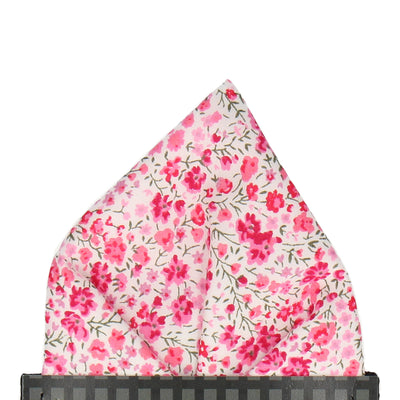 Busy Pink Floral Liberty Cotton Phoebe Pocket Square