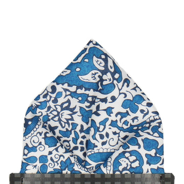 Blue Lagos Laurel Liberty Cotton Pocket Square