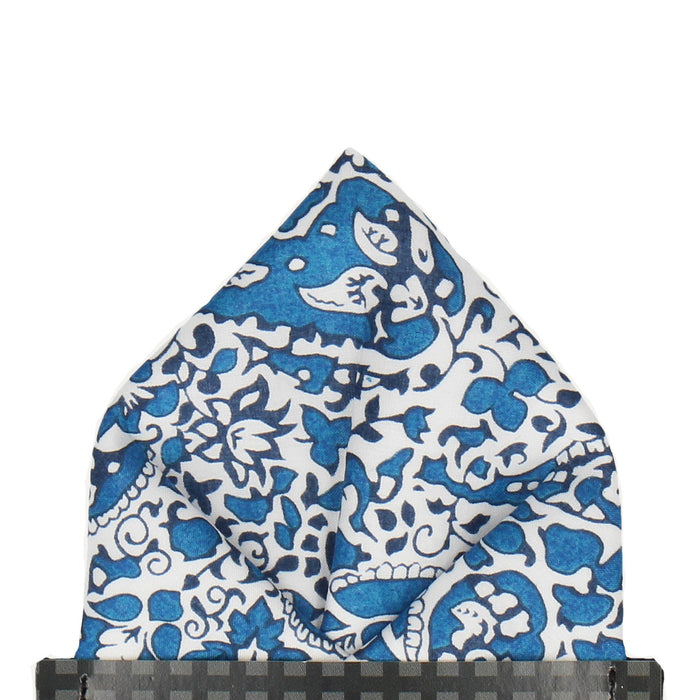 Lagos Laurel in Blue Pocket Square - - Pocket Squares and Handkerchiefs by Mrs Bow Tie