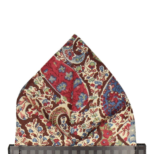 Bourton in Brown Pocket Square - - Pocket Squares and Handkerchiefs by Mrs Bow Tie