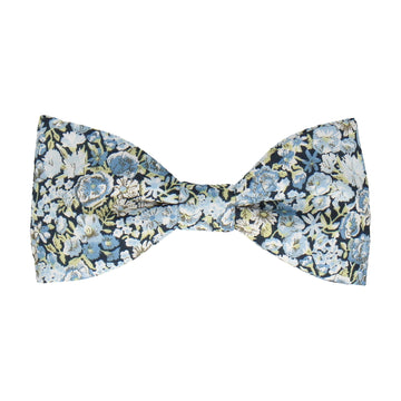 Blue Floral Chive Liberty Cotton Bow Tie