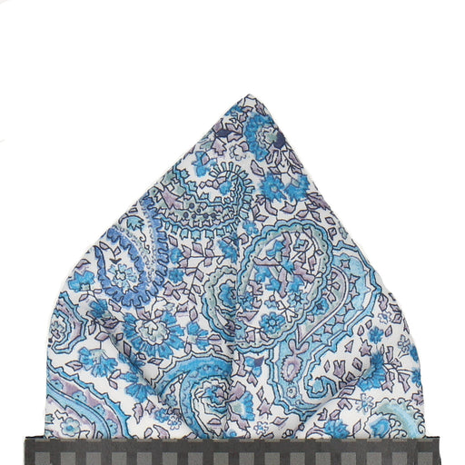 Charles in Blue Pocket Square - - Pocket Squares and Handkerchiefs by Mrs Bow Tie
