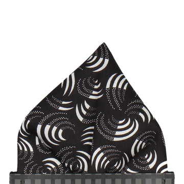 Black Isa Swirls Liberty Cotton Pocket Square