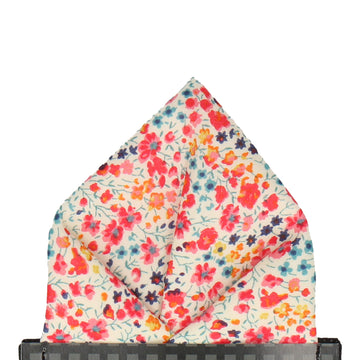 Busy Coral Floral Liberty Cotton Phoebe Pocket Square