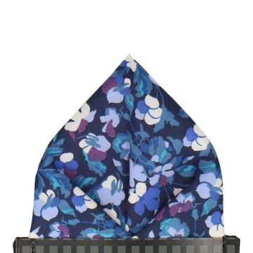 Blue Tropical Floral Liberty Cotton Pocket Square