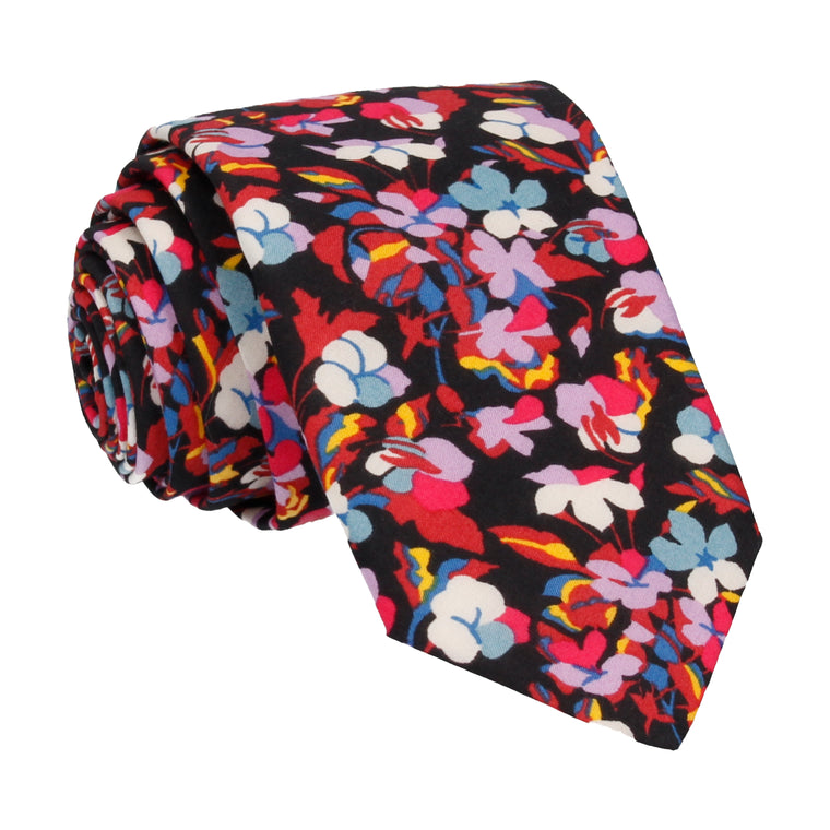 Pink Tropical Floral Liberty Cotton Tie