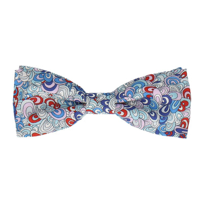 Rainbow Rave in Blue Bow Tie Bow Tie -Batwing-Pre-Tie- - bowties by Mrs Bow Tie