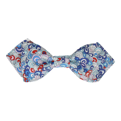 Rainbow Rave in Blue Bow Tie Bow Tie -Diamond Point-Pre-Tie- - bowties by Mrs Bow Tie