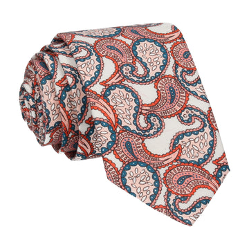 Pink & White Large Paisley Tears Liberty Cotton Tie