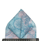 Teal Dots Pattern Luna Liberty Cotton Pocket Square