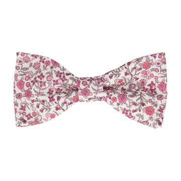 Pink Diderot Floral Liberty White Bow Tie