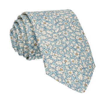 Blue Floral Feather Fields Liberty CottonTie