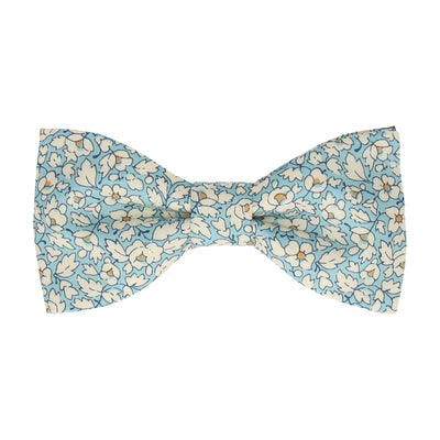 Blue Floral Feather Fields Liberty Cotton Bow Tie