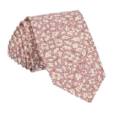 Pink Floral Feather Fields Liberty Cotton Tie