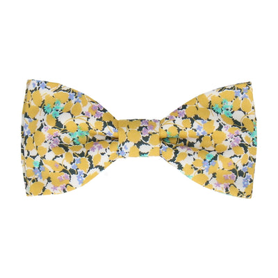Yellow Floral Hedgerow Cotton Liberty Bow Tie
