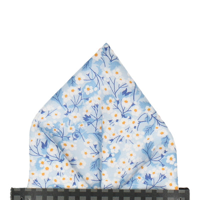 Light Blue Small Flower Mitsi Valeria Liberty Pocket Square