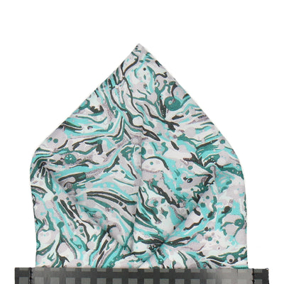 Marble Peaks in Grey & Cyan Pocket Square