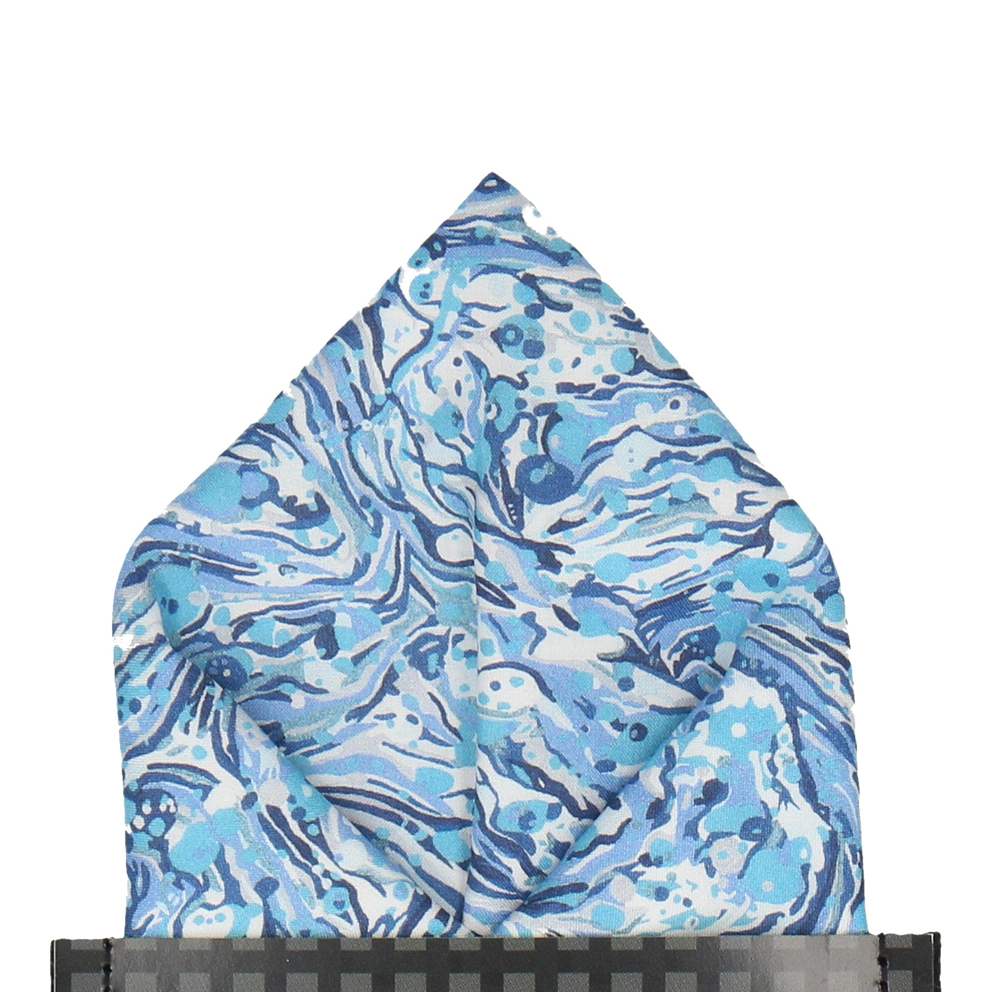 Marble Peaks in Blue Pocket Square