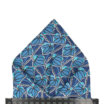Blue Floral Tile Mosaic Liberty Pocket Square