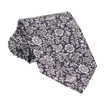 Midnight Purple Kelmscott Liberty Cotton Tie