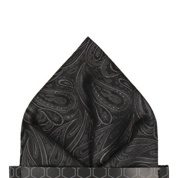 Charcoal Black Silver Paisley Pocket Square