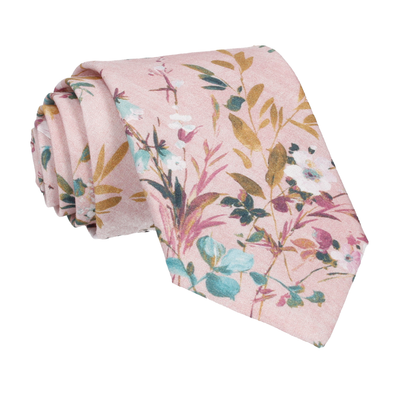Dusty Pink Watercolour Asian Floral Tie