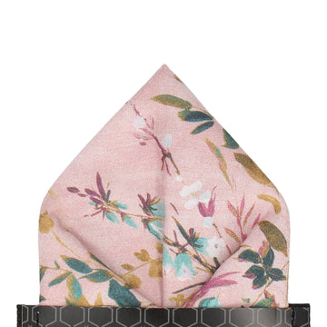 Dusty Pink Watercolour Asian Floral Pocket Square