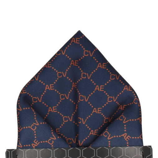 Blue & Orange Argyle Pocket Square (Personalised)
