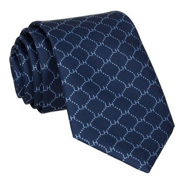 Navy & Pale Blue Argyle Tie (Personalised)