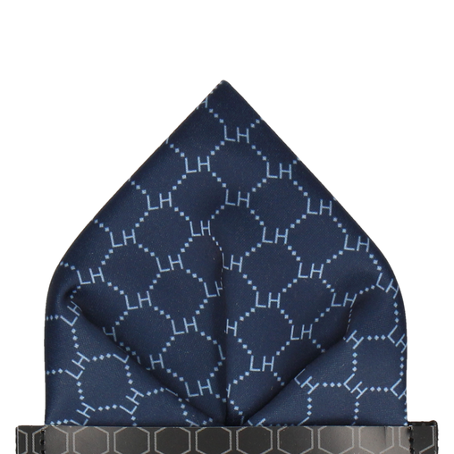Navy & Pale Blue Argyle Pocket Square (Personalised)