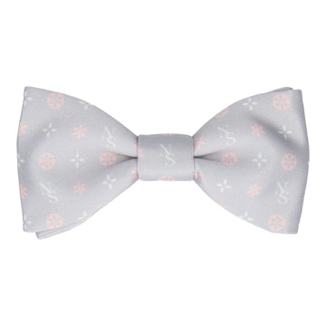 Grey and Pink Motif Bow Tie (Personalised)