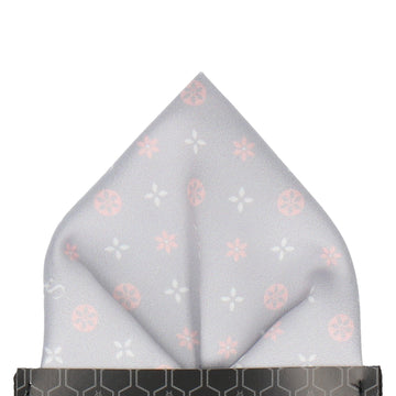 Grey and Pink Motif Pocket Square (Personalised)
