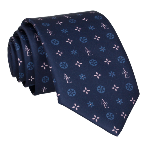 Blue and Pink Motif Tie (Personalised)