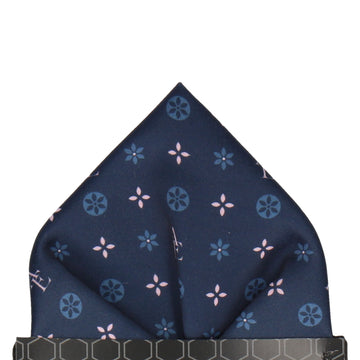 Blue and Pink Motif Pocket Square (Personalised)