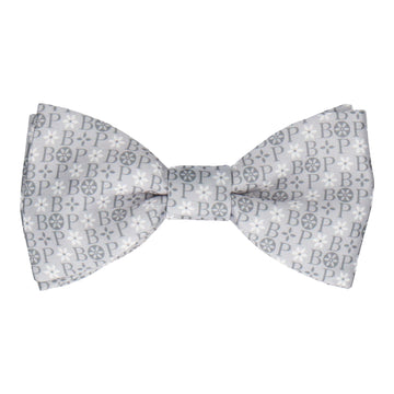 Grey Floral Motif Bow Tie (Personalised)