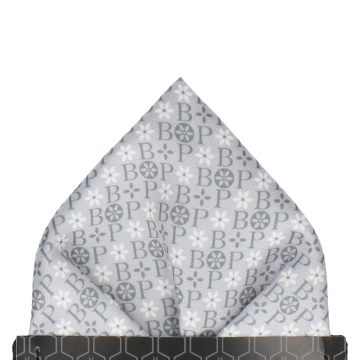 Grey Floral Motif Pocket Square (Personalised)