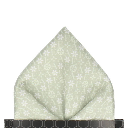 Green Floral Motif Pocket Square (Personalised)