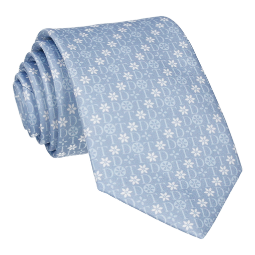 Blue Floral Motif Tie (Personalised)