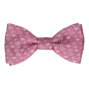 Mauve Heart Monogram Bow Tie (Personalised)