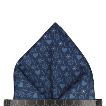 Navy Blue Heart Monogram Pocket Square (Personalised)
