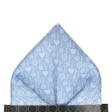 Blue Heart Monogram Pocket Square (Personalised)