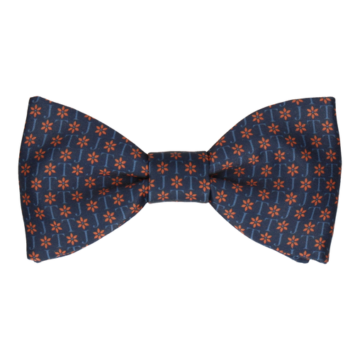 Navy & Orange Flower Monogram Bow Tie (Personalised)