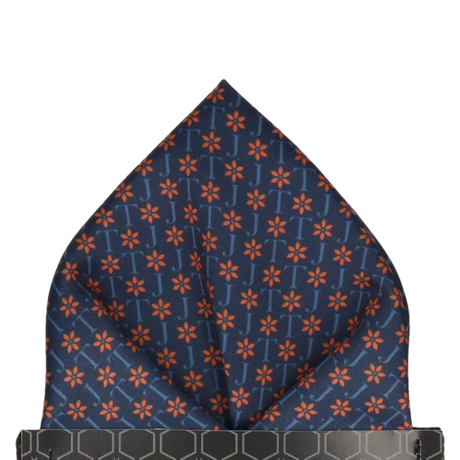 Navy & Orange Flower Monogram Pocket Square (Personalised)