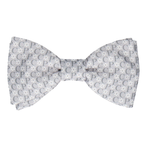 Grey Flower Monogram Bow Tie (Personalised)