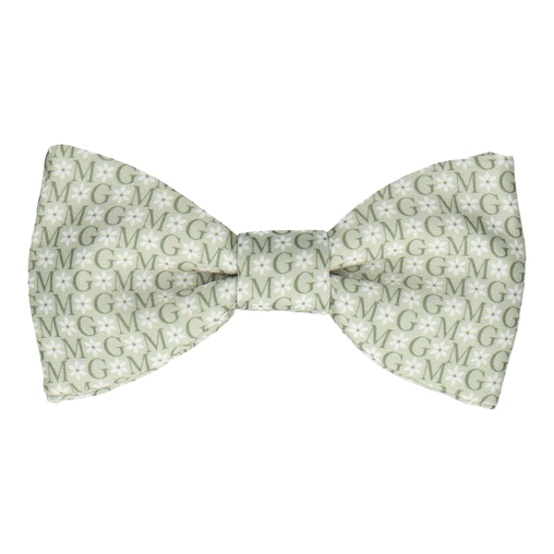 Green Flower Monogram Bow Tie (Personalised)