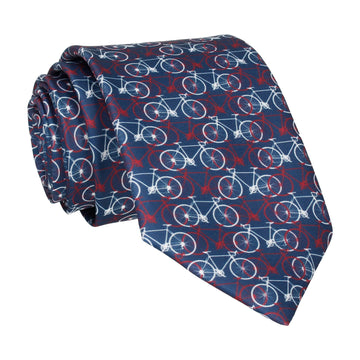 Navy, Red, White Bicycle Print Tie