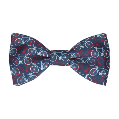 Navy, Red, White Bicycle Print Bow Tie