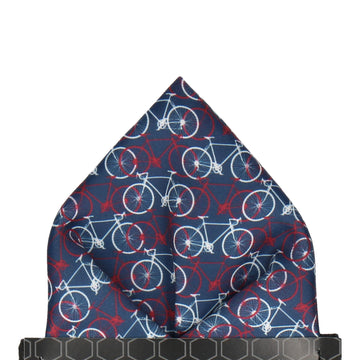 Busy Bicycles Navy, Red, White Pocket Square